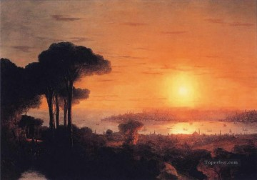 sun - sunset over the golden horn 1866 Romantic Ivan Aivazovsky Russian